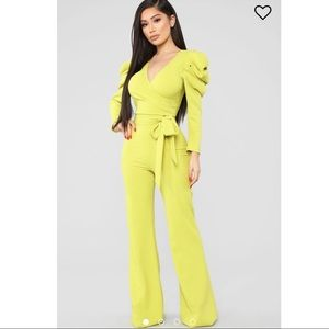 Fashion Nova Lime Jumpsuit